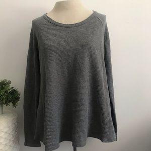 Free People grey waffle knit long sleeve top
